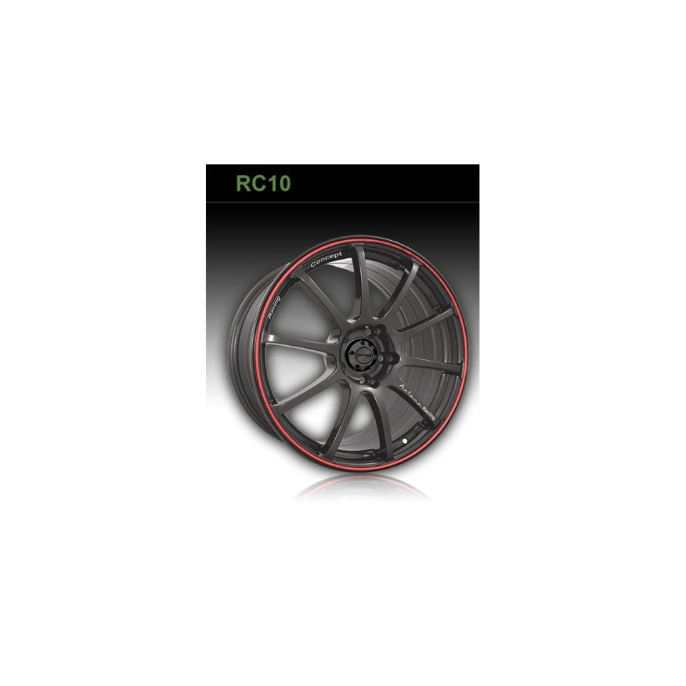 Katana RC10 18 Black Red Wheel / Rim 4x100 & 4x4.5 with a 45mm Offset and a 73.1 Hub Bore. Partnumber KRC10188MA45MB