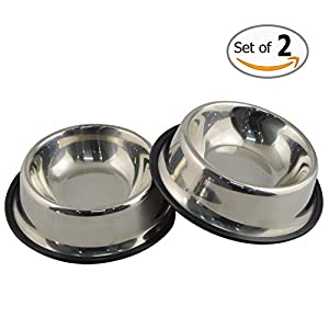 MLife Stainless Steel Dog Bowl with Rubber Base for Small Dogs, Pets Feeder Bowl and Water Bowl Perfect Choice (set of 2) S