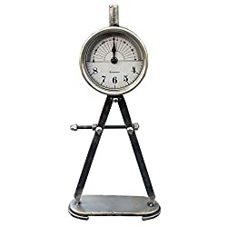 Funly mee Vintage Industrial Style Compass Shape Table Clock,Shabby Chic Rustic Tabletop Clock