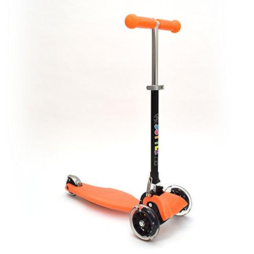 3Style Scooters® RGS-1 Tretroller, mit sich neigendem Mini-T-Lenker, 3 Räder, für Mädchen und Jungen, mit LED-Lichtern an den Rollen, (Orange)