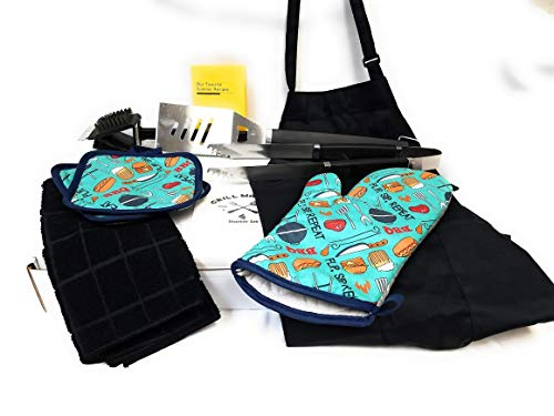 Cwinc, Inc Grill Master Starter Kit with Grill Tools, BBQ Hot Pads, Chef Apron and More! (Nine Items) (Blue Grill)