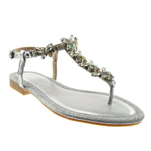Tobillo Tac Angkorly de Correa Brillante Sandalias Joyas Chanclas Strass Zapatillas Mujer Moda qwfpa7Y