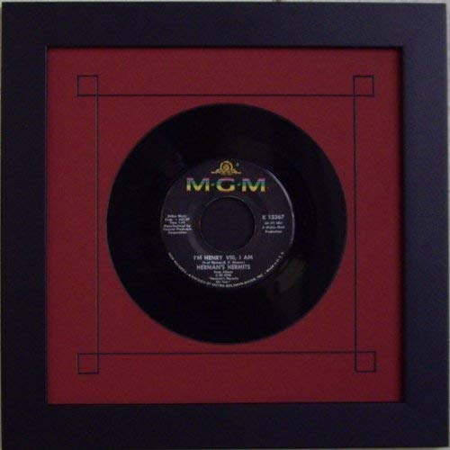"""45 Single (6 7/8"""") Vinyl-Record Frame Featuring Red Mat Design and Solid Wood Black Matte Finish Frame"""