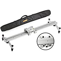 Movo MV-S60 23 Camera Slider Track Glider System with Roller Bearing Platform, Adjustable Legs, Tension Control and More (Silver)