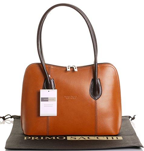 - Primo Sacchi Italian Smooth Tan Brown Leather Classic Long Handled Handbag Tote Grab Shoulder Bag
