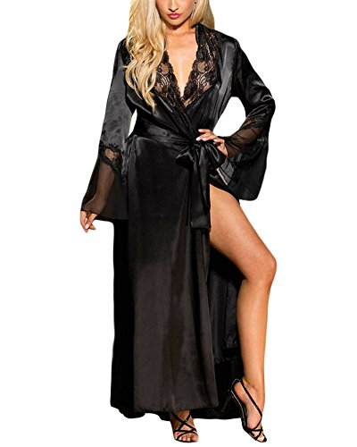 (XAKALAKA Womens Long Robe Kimono Satin Gown Lingerie Black L )