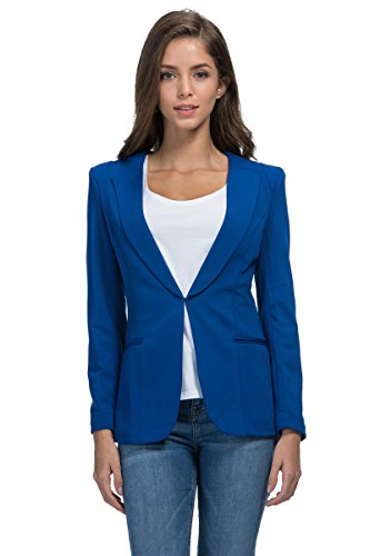 My Wonderful World Women's Plus Long Sleeve Shawl Collar Outwear XXXX-Large Blue by My Wonderful World Blazer Coat Jacket (Image #7)
