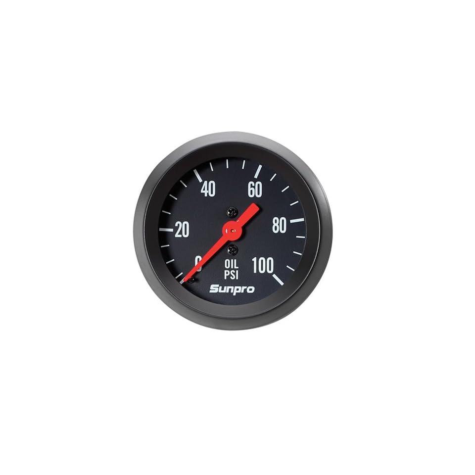 Sunpro CP8216 StyleLine Mechanical Oil Pressure Gauge   Black Dial