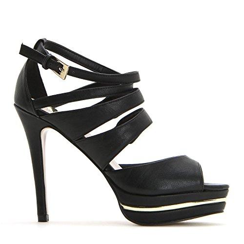 ESTRADÀ by Scarpe&Scarpe - Sandalias altas con bandas y correa, con Tacones 11 cm Negro