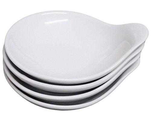 [Set of 4, Amatahouse Elegant Canape Round #P4320 Soy Sauce Dish Sushi Wasabi Plates Royal Porcelain Classic White] (Sushi And Kikkoman Costume)