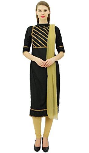 Freizeitkleidung Straight Indischen Set Suit amp; Atasi Schwarz Beige Frauen Baumwolle Readymade 4qESB0w
