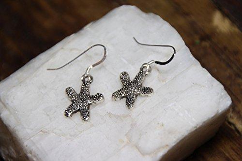 Sea Star Earrings Pendant Ocean Fish 925 Sterling Silver Hooks Pewter Charms