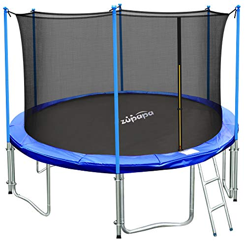 (Zupapa 10 Ft TUV Approved Trampoline with Ladder, Outdoor Trampoline with Enclosure net and Safety Pad Jumping Mat Spring Pull T-Hook, Backyard Trampoline for Kids)