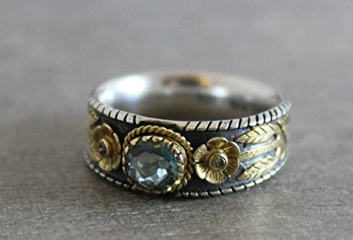 Blue Tourmaline Sterling Silver18kt Gold Ring Size 7