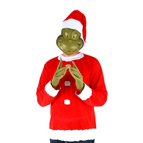Dr. Seuss Grinch Santa Costume includes Shirt, Mask, Gloves and Hat, Small/Med