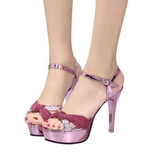 Rosa Donna Alto Tacchi Fiocco scarpa Scarpe Meibax Sandali Eleganti Con Tacco Estivi Sexy 5w47qxnSa