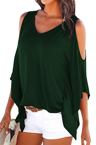 Cutiefox Womens Cold Shoulder Kimono Short Sleeve T Shirt Top Deep Green XL
