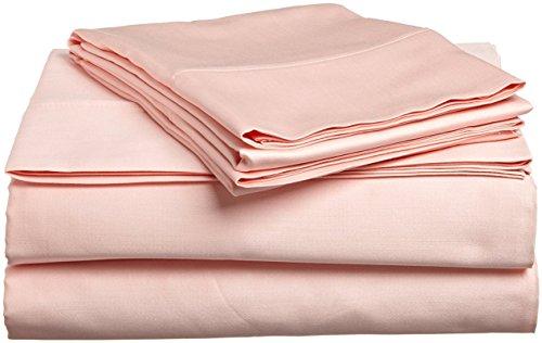 600-Thread-Count SOLID LOOK - { Peach } Color Little House { 4-PCs } Sheet Set King Size 100% Egyptian Cotton Depth Mattress Pocket { 14