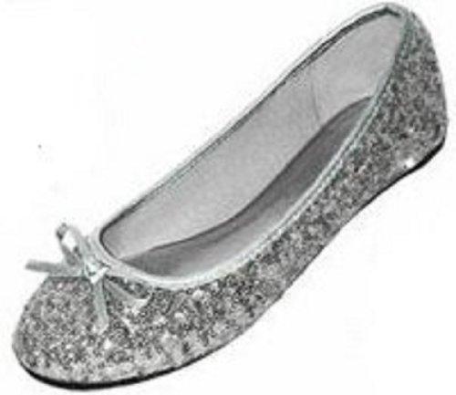 Sequin Flat Shoe (New Womens Sequins Ballerina Ballet Flats Shoes 4 Colors Available (7/8, Silver Sequins 2001))