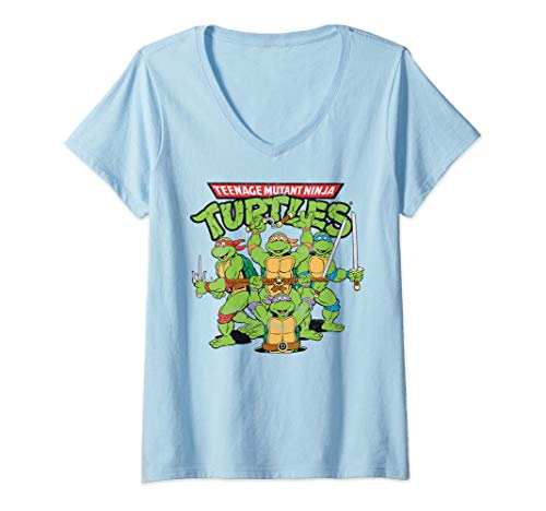 Womens Teenage Mutant Ninja Turtles  V-Neck T-Shirt -