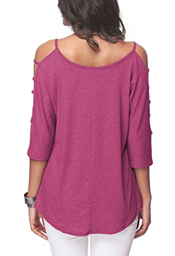 iGENJUN Women Casual Loose Hollowed Out Shoulder Three Quarter Sleeve Shirts