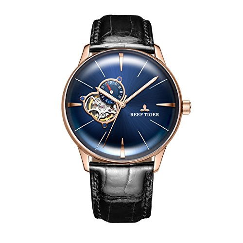 Reef Tiger Casual Blue Dial Watches Men's Convex Lens Automatic Watches Leather Strap RGA8239