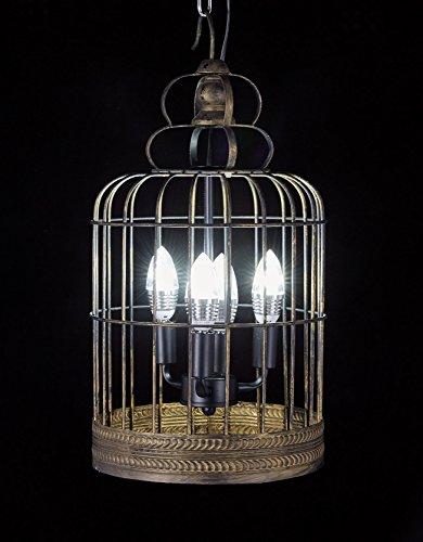 Diamond Life Antique Bronze 4-Light Metal Birdcage Chandelier Hanging Pendant Ceiling Lamp Fixture