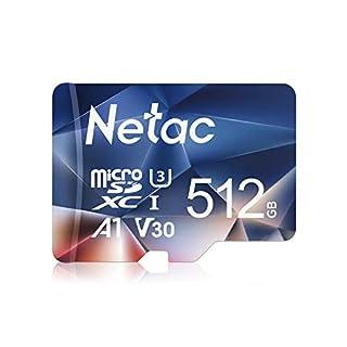 Netac 512GB Micro SD Card, microSDXC UHS-I Memory Card - 100MB/s, 667X, U3, Class10, Full HD Video V30, A1, FAT32, High Speed Flash TF Card P500 for Smartphone/Bluetooth Speaker/Tablet/PC/Camera