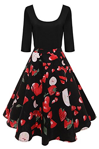Cocktail Audrey Pin up anne Babyonlinedress Style Hepburn Fruit de Vintage avec 1 Soire 2 Robe Manches 50 wqxxHFf