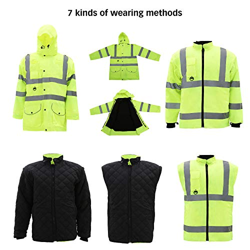 Holulo Waterproof 7-in-1 Reflective Class 3 Safety Parka Jacket with Zipper and Pockets Size XL by Holulo (Image #5)