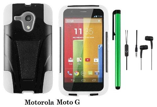 Motorola MOTO G (VERIZON, BOOSTMOBILE) Premium T-stand Protector Hard Case Cover + 3.5MM Stereo Earphones + 1 of New Metal Stylus Touch Screen Pen (WHITE / BLACK) - First Motorola Flip Phone