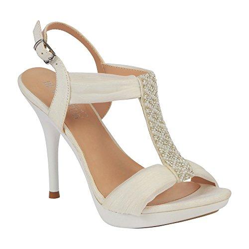 Sandalo Con Tacco A Spillo Con Cinturino E Perle Bianche Per Donna (8.5, Bianco)