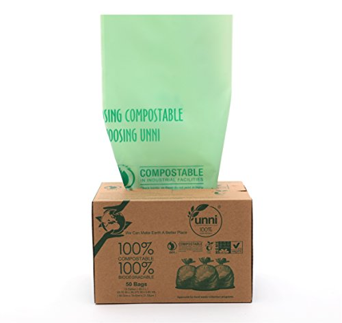 Price comparison product image Unni ASTM6400 Certified 100% Compostable Bags, 13 Gallon, 50 Count, Heavy Duty 0.85 Mils, Tall Kitchen Trash Bags, Biodegradable Food Scraps Yard Waste Bags, US BPI & European VINCOTTE Certificated