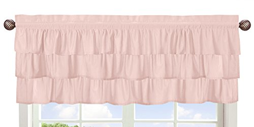 (Solid Color Blush Pink Shabby Chic Ruffle Window Treatment Valance for Harper Collection by Sweet Jojo Designs)