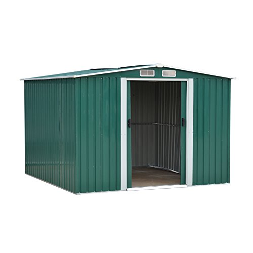 - Wonlink Heavy Duty Outdoor Steel Garden Storage Utility Shed Backyard Lawn Building Garage, Green (8 by 8-Feet)