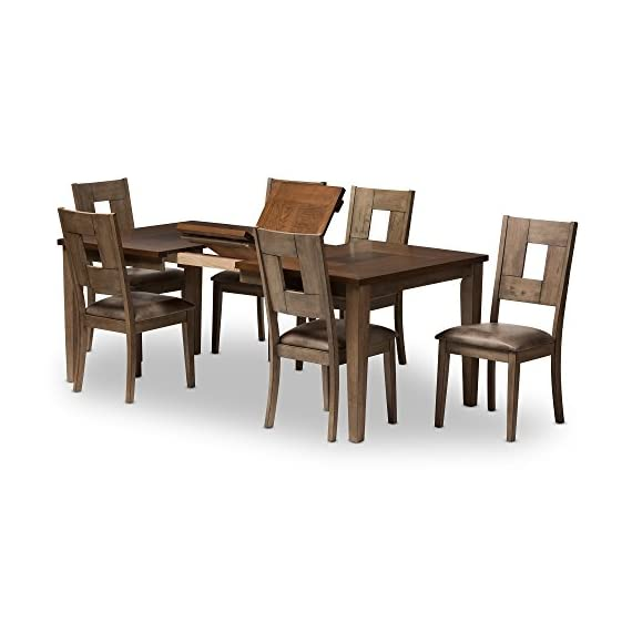 Baxton Studio 7 Piece Edwige Shabby Chic Country Cottage Weathered Gray/Oak Brown 2-Tone Extendable Dining Set, Gray - 7-piece dining set made from solid rubber wood and oak veneer Weathered grey finished frame and legs Extendable table in two-tone finishing - kitchen-dining-room-furniture, kitchen-dining-room, dining-sets - 41FJL%2BLrSmL. SS570  -