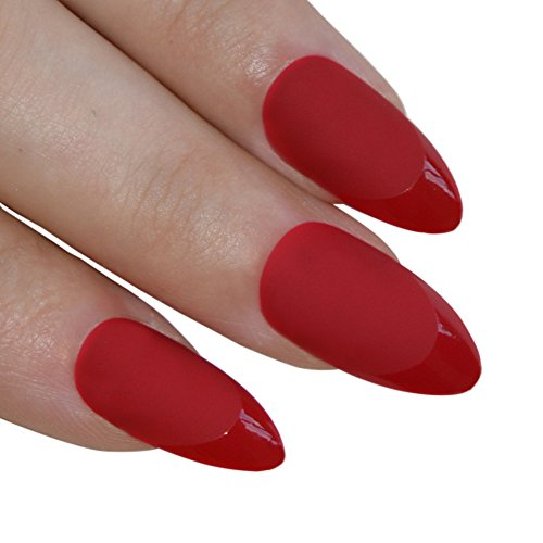 Bling Art Almond False Nails Fake Stiletto Matte Red Acrylic 24 Long Tips (Fake Red Nails)