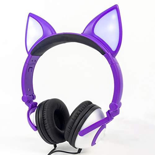 LIMSON Kids Headphones Wired Stereo Over Ear Noise Isolating Fox Ear LED Light Headphones for Kids Teens iPad Cell Phones PC Tablet (Purple)