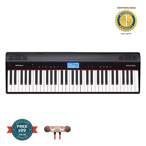 Roland GO-61PC GO:PIANO Digital Piano includes Free Wireless Earbuds – Stereo Bluetooth In-ear and 1 Year Everything Music Extended Warranty