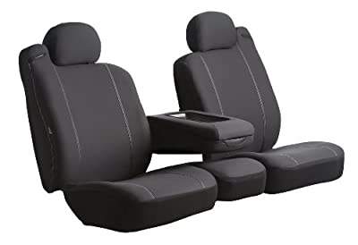 Fia SP87-29 BLACK Custom Fit Front Seat Cover Split Seat 40/20/40 - Poly-Cotton, (Black)