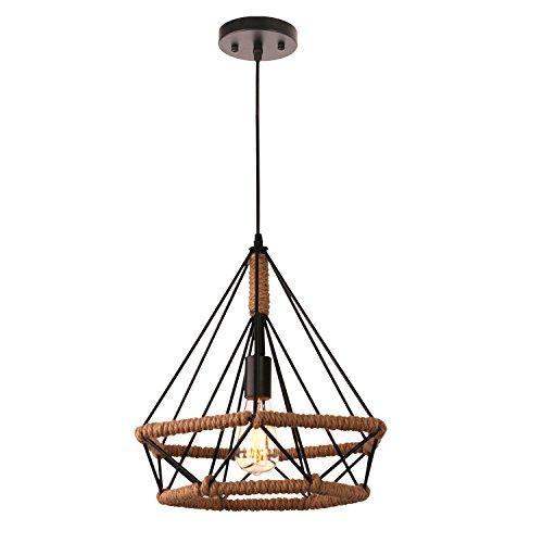 Unitary Brand Rustic Metal Flaxen and Black Hemp Rope Lantern Pendant light with 1 E26 Bulb Socket 40W Painted Finish