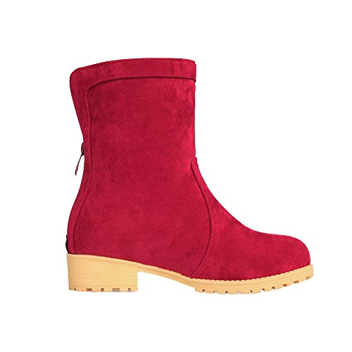 Frosted Round Women's Red Closed Toe Low AgooLar Solid Heels Zipper Boots gwSfqqUxa
