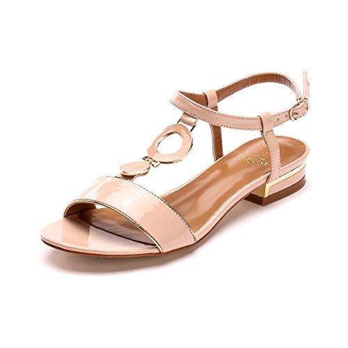 Alexis Leroy Summer Womens Classic Buckle Design Fashion Flat Sandals