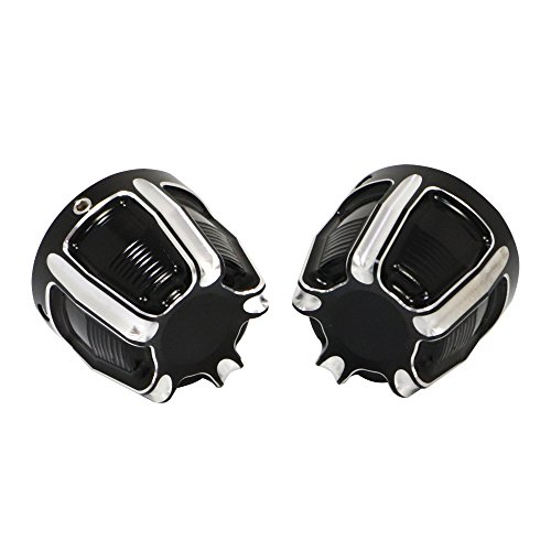 Senkauto Black Deep Cut Front Axle Cap Nut Cover For Harley Sportster Touring Dyna Touring Softail by Senkauto (Image #2)