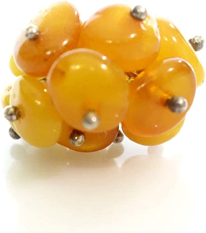 Unique Grape Design Amber Gemstone Fashion Ring 925 Sterling Silver Handmade Statement Ring for Women and Young Girls