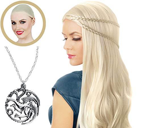 Deluxe Daenerys Targaryen Khaleesi Costume Wig Blonde Cosplay Hair Game of Thrones