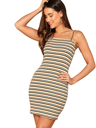 (Floerns Women's Rib-Knit Striped Cami Bodycon Dress Multi XS)