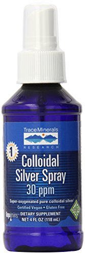 Trace Minerals Research Vegan Colloidal Silver Spray, Bio-Active Silver Hydrosol Liquid Mineral Supplement, Certified Organic, Natural & Pure, 30 PPM, 4 fl. oz, - CLSSP01