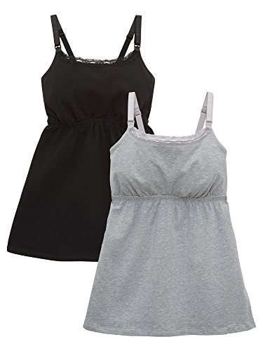 Loving Moments by Leading Lady Women's Cotton Nursing Tank with Lace Trim and Full Sling 2-Pack, Black/Gray, M ()