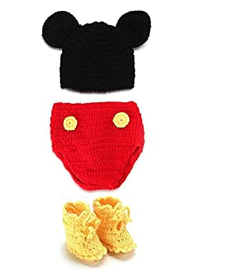 819b6b1d7 Babymoon Decut Baby Mickey Mouse Hat, Shorts and Booties Crochet Clothing  Swashh